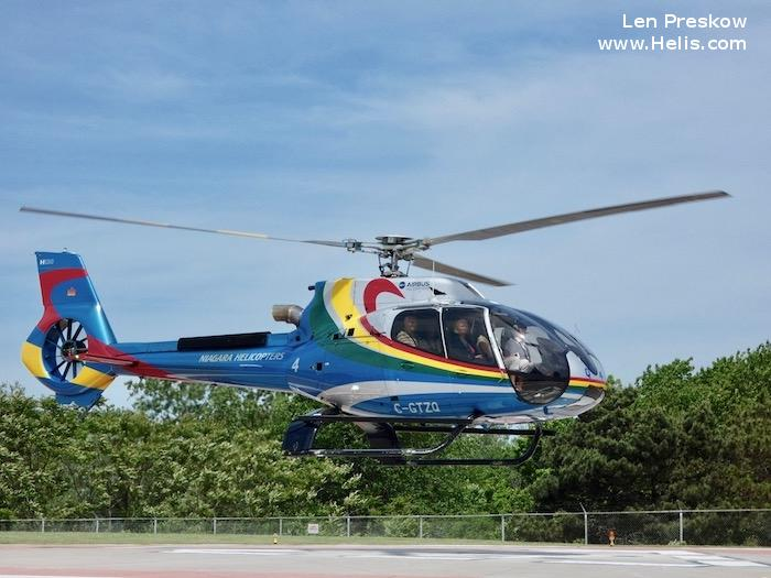 Helicopter Airbus Helicopters H130 / EC130T2 Serial 8084 Register C-GTZQ used by Niagara Helicopters ,Airbus Helicopters Canada. Built 2015. Aircraft history and location
