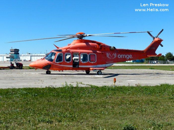 Helicopter AgustaWestland AW139 Serial 41238 Register C-GYNL N458SM used by Canadian Ambulance Services Ornge ,AgustaWestland Philadelphia (AgustaWestland USA). Built 2010. Aircraft history and location
