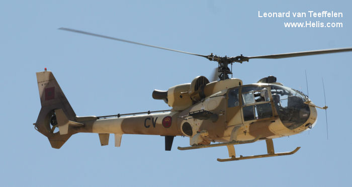 Helicopter Aerospatiale SA342L Gazelle Serial 1972 Register CN-ACV used by al-Quwwat al-Jaoiyah al-Malakiyah al-Maghribiyah RMAF (Royal Moroccan Air Force). Aircraft history and location