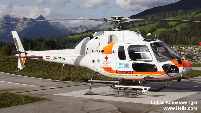 Helicopter Aerospatiale AS355E TwinStar Serial 5096 Register OE-XNN OE-XKR LN-OAX SE-JDK N8794Y PT-HTW N813DB N5785T used by Heli Austria GmbH. Aircraft history and location