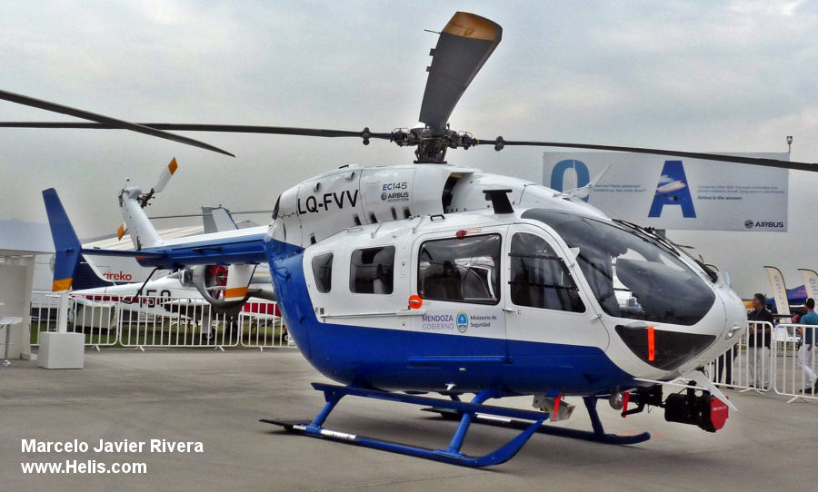 Helicopter Airbus Helicopters EC145 Serial 9691 Register LQ-FVV used by Policias Provinciales (Argentine Provinces Police Units). Built 2015. Aircraft history and location
