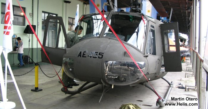Helicopter Bell UH-1H Iroquois Serial 12042 Register AE-462 AE-455 used by Aviacion de Ejercito Argentino EA (Argentine Army Aviation). Aircraft history and location