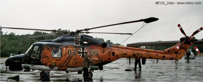 Helicopter Westland Super Lynx mk88a Serial 412 Register 83+09 used by Marineflieger (German Navy ). Aircraft history and location