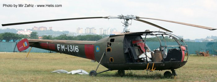 Helicopter Aerospatiale SE3160 / SA316A Alouette III Serial 1303 Register FM-1316 used by Tentara Udara Diraja Malaysia RMAF (Royal Malaysian Air Force). Aircraft history and location