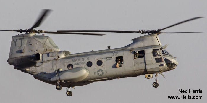 Helicopter Boeing-Vertol CH-46D Serial 2424 Register 154817 used by US Marine Corps. Built 1968. Aircraft history