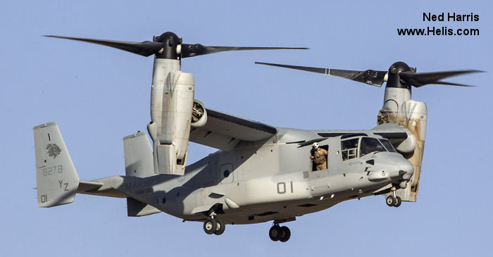 Helicopter Bell MV-22B Osprey Serial D0195 Register 168278 used by US Marine Corps. Built 2013. Aircraft history and location