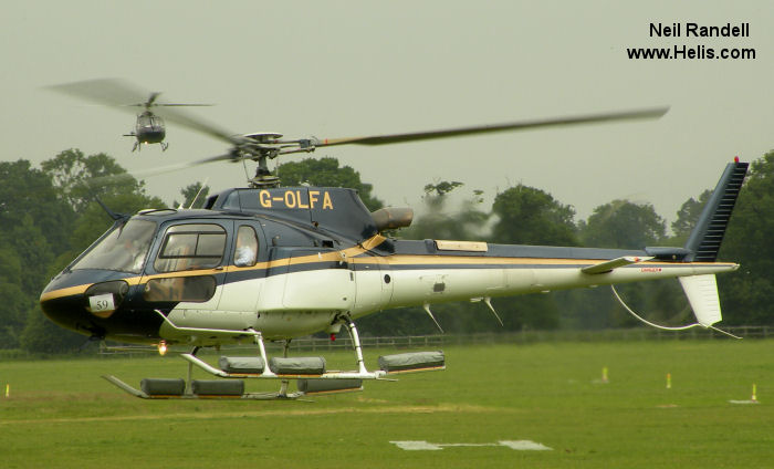 Helicopter Eurocopter AS350B3 Ecureuil Serial 3108 Register N33AR G-OLFA N64AD. Built 1998. Aircraft history and location