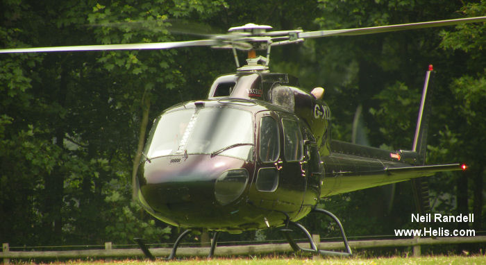Helicopter Aerospatiale AS355E TwinStar Serial 5033 Register G-PASF G-SCHU G-XLLL N915EG used by UK Police Forces McAlpine Helicopters MW Helicopters. Built 1981. Aircraft history