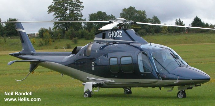 Helicopter AgustaWestland AW109S Grand Serial 22090 Register G-IOOZ N109GR. Built 2008. Aircraft history