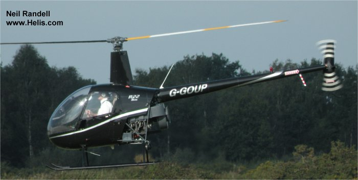 Helicopter Robinson R22 Beta Serial 1663 Register G-GOUP G-DIRE. Built 1991. Aircraft history and location