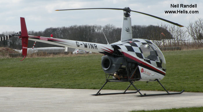 Helicopter Robinson R22 Beta Serial 1709 Register G-WINR EI-CFE G-BTHG used by Heli Air Ltd. Built 1991. Aircraft history and location