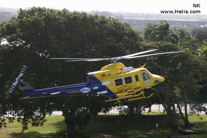 Helicopter Bell 412 Serial 33084 Register CC-APK VH-NSV VH-AHH N3172D used by FAASA Chile ,Royal Australian Air Force RAAF ,Australia Air Ambulances RACQ CQ Rescue ,CHC Helicopters Australia ,Lloyd Helicopters. Built 1982. Aircraft history and location