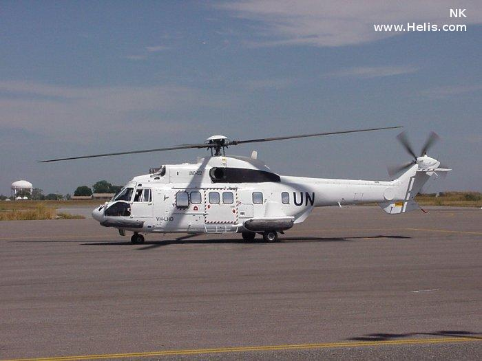 Helicopter Aerospatiale AS332L Super Puma Serial 2053 Register VH-URY VH-LHD LN-OAW OY-HMH LN-OME used by Lloyd Helicopters United Nations Helikopter Service Maersk Air. Built 1983. Aircraft history and location