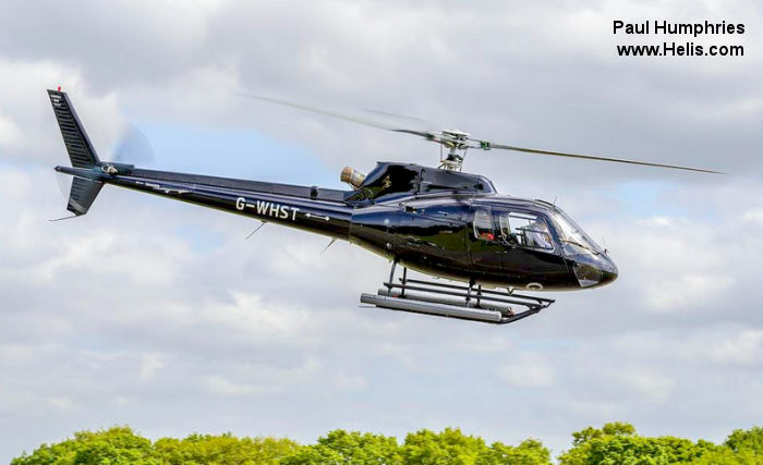 Helicopter Eurocopter AS350B2 Ecureuil Serial 2915 Register G-WHST G-BWYA used by McAlpine Helicopters. Built 1996. Aircraft history and location