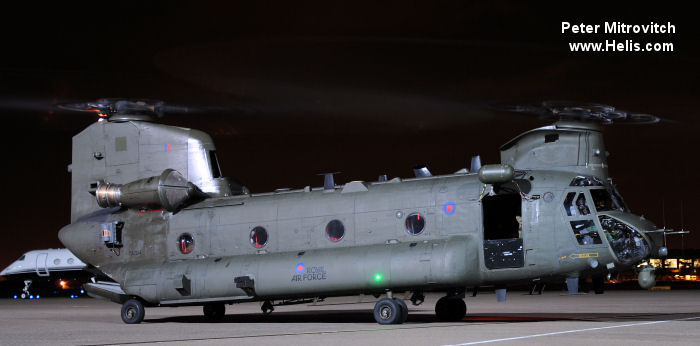 Helicopter Boeing CH-47D Chinook Serial M.7006 Register ZA704 used by Royal Air Force RAF. Aircraft history and location