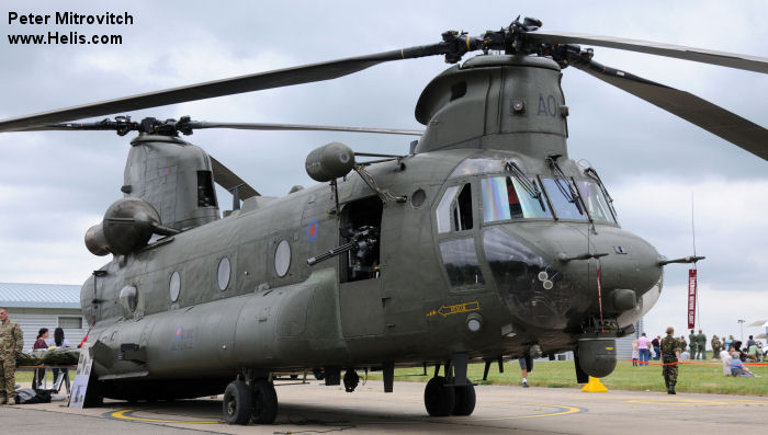 Helicopter Boeing CH-47D Chinook Serial M.7025 Register ZA707 used by Royal Air Force. Aircraft history