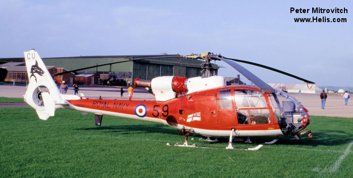 Helicopter Aerospatiale SA341C Gazelle HT.2 Serial 1924 Register G-CBSF ZB647 used by Falcon Aviation Ltd ,London Helicopter Centres ,Fleet Air Arm RN (Royal Navy). Built 1982. Aircraft history and location