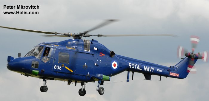 Helicopter Westland Lynx  HAS2 Serial 010 Register XZ233 used by Fleet Air Arm (Royal Navy). Built 1977. Aircraft history