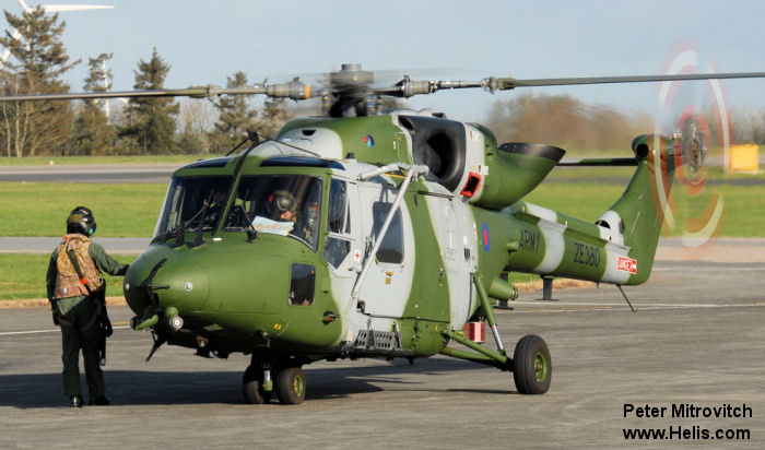 Helicopter Westland Lynx AH7 Serial 324 Register ZE380 used by Army Air Corps (British Army). Built 1986. Aircraft history