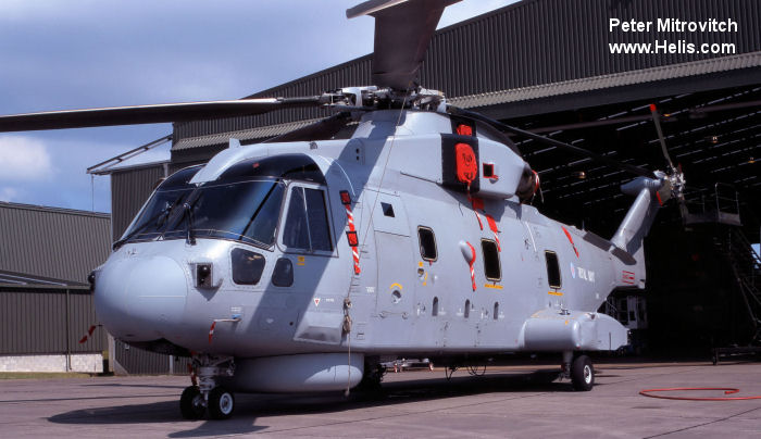 Helicopter AgustaWestland Merlin HM.1 Serial 50061 Register ZH833 used by Fleet Air Arm (Royal Navy). Built 1997. Aircraft history