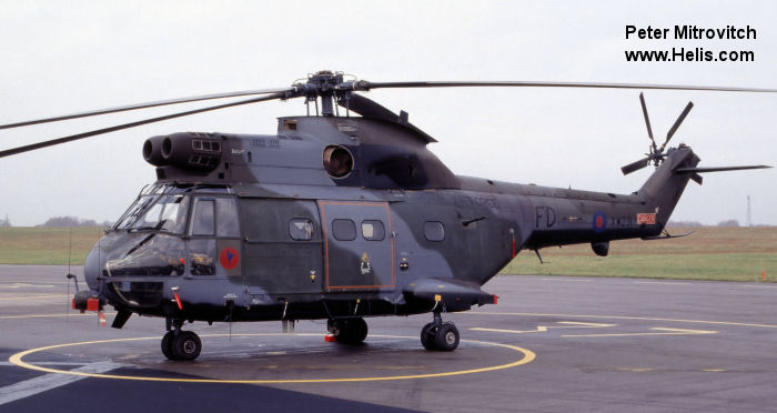 Helicopter Aerospatiale SA330E Puma Serial 1195 Register XW231 used by Royal Air Force. Built 1972. Aircraft history