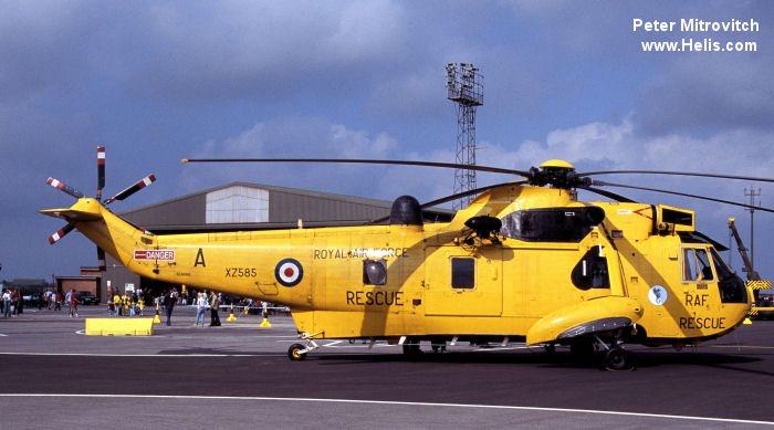 Helicopter Westland Sea King HAR.3 Serial wa 851 Register XZ585 used by Royal Air Force RAF. Built 1977. Aircraft history and location