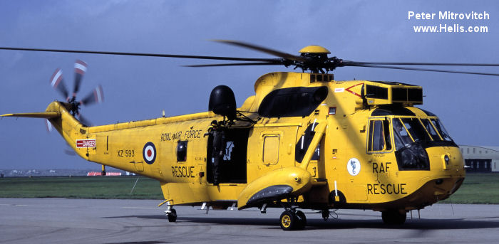 Helicopter Westland Sea King HAR.3 Serial wa 859 Register XZ593 used by Royal Air Force. Built 1978. Aircraft history