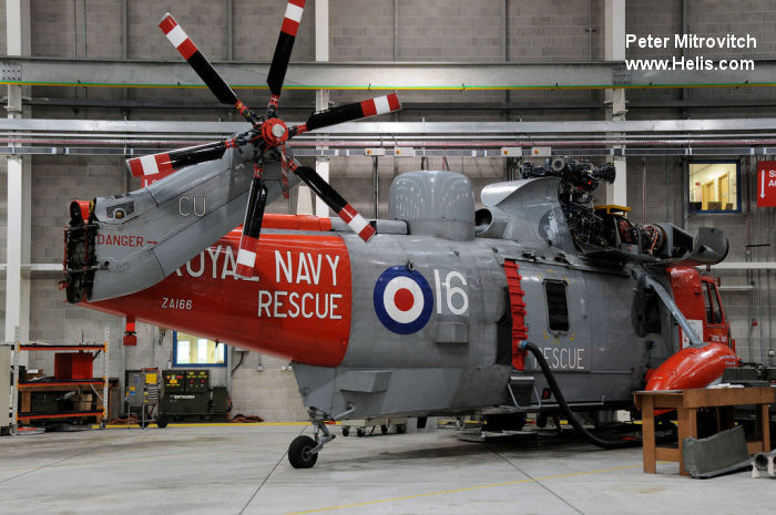 Helicopter Westland Sea King HAS.5 Serial wa 899 Register ZA166 used by Fleet Air Arm (Royal Navy) Developing Assets (UK) Ltd. Built 1982. Aircraft history
