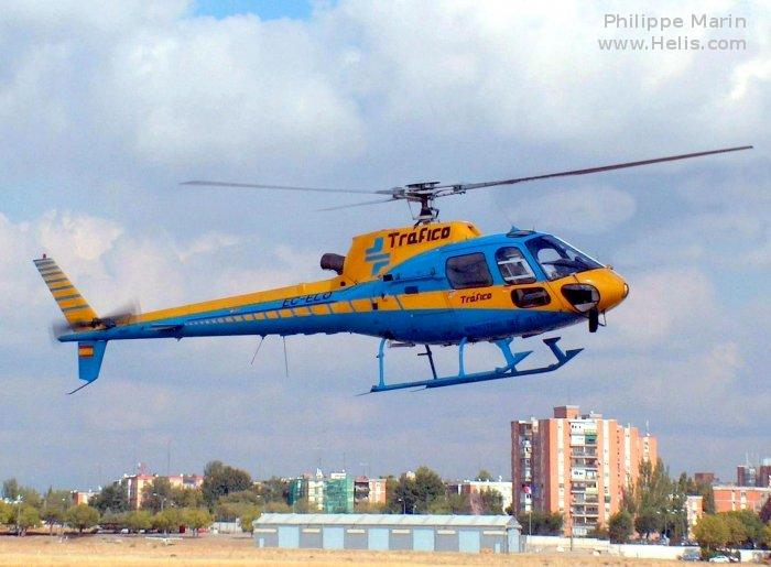 Helicopter Aerospatiale AS350B1 Ecureuil Serial 2129 Register C-FSOZ N141MB G-ODMG EC-ELO used by Delta Helicopters ,Quantum Helicopters Ltd ,Abitibi Helicopters ,Direccion General de Trafico DGT (Traffic Police Directorate ). Built 1988. Aircraft history and location
