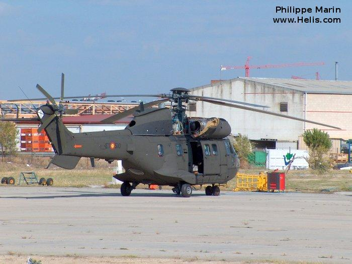 Helicopter Aerospatiale AS332B Super Puma Serial 2241 Register HU.21-12 HT.21-12 used by Unidad Militar de Emergencias (Military Emergencies Unit) Fuerzas Aeromóviles del Ejército de Tierra (Spanish Army Aviation). Aircraft history and location