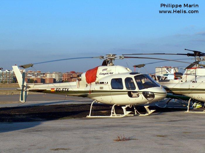 Helicopter Eurocopter AS355N Ecureuil 2 Serial 5550 Register EC-FTX used by CoyotAir Direccion General de Trafico (Traffic Police Directorate ). Built 1993. Aircraft history and location