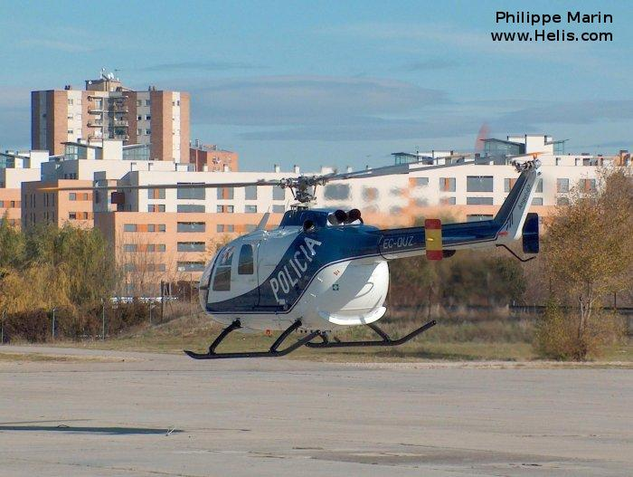 Helicopter MBB Bo105CB-2 Serial S-629 Register EC-DUZ used by Cuerpo Nacional de Policia (National Police Corps). Built 1983. Aircraft history and location