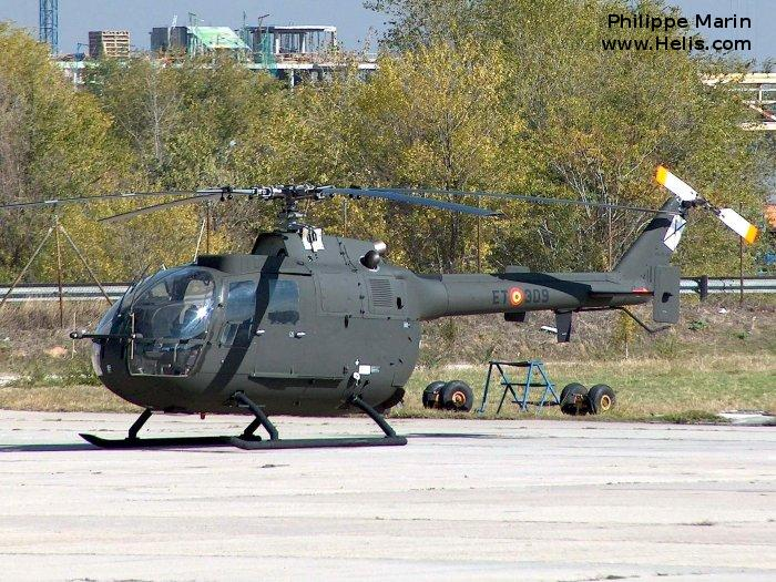 Helicopter MBB Bo105 Serial S-494 Register HA.15-40 used by Fuerzas Aeromóviles del Ejército de Tierra (Spanish Army Aviation). Built 1980. Aircraft history and location