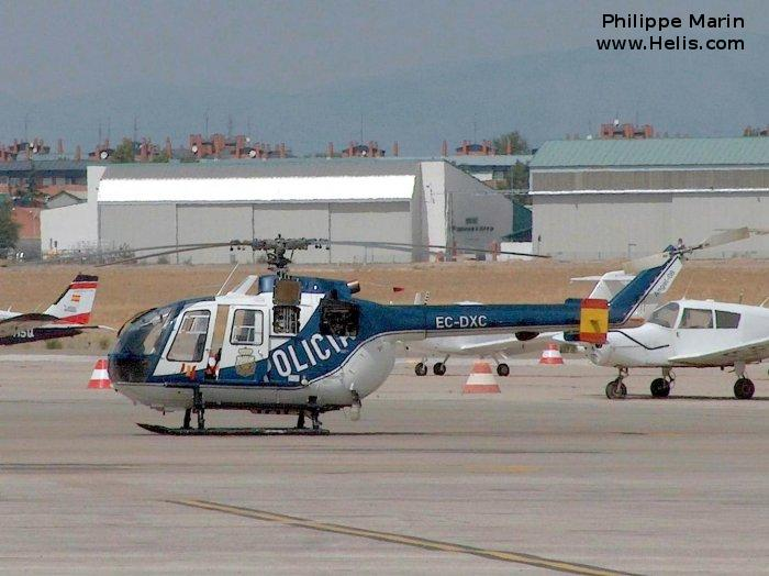 Helicopter MBB Bo105CB-2 Serial S-690 Register EC-DXC used by Cuerpo Nacional de Policia (National Police Corps). Built 1985. Aircraft history and location