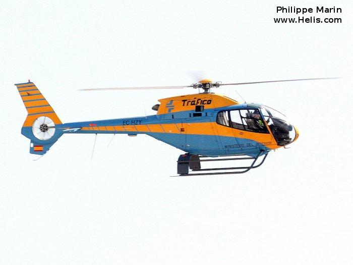 Helicopter Eurocopter EC120B Serial 1242 Register SE-JUB EC-HZY used by Direccion General de Trafico DGT (Traffic Police Directorate ). Built 2001. Aircraft history and location