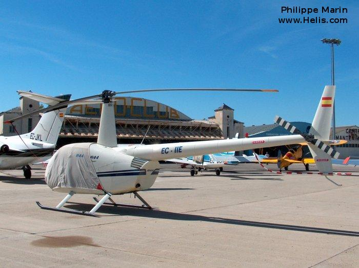 Helicopter Robinson R44 Raven Serial 1240 Register EC-IIE used by Intercopters. Built 2002. Aircraft history and location