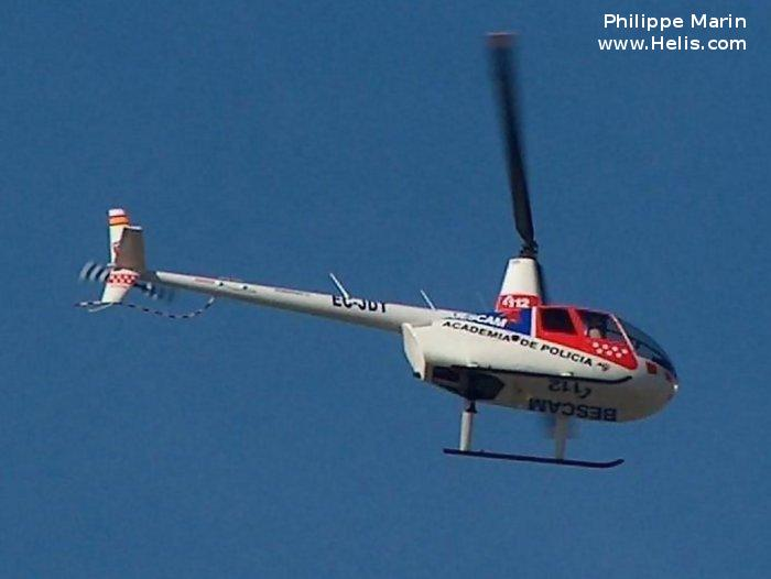 Helicopter Robinson R44 Raven Serial 1446 Register EC-JDT used by Intercopters. Built 2004. Aircraft history and location