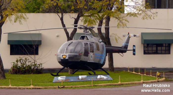 Helicopter MBB Bo105A Serial S-24 Register LQ-LAS used by Policia Federal Argentina (Argentine Federal Police). Aircraft history and location