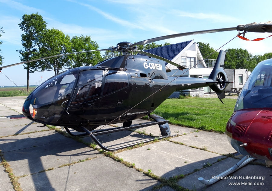 Helicopter Eurocopter EC120B Serial 1006 Register G-OMEM G-BXYD used by McAlpine Helicopters. Built 1998. Aircraft history and location
