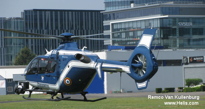 Helicopter Eurocopter EC135T2+ Serial 0654 Register F-MJDB used by Gendarmerie Nationale (French National Gendarmerie). Built 2008. Aircraft history