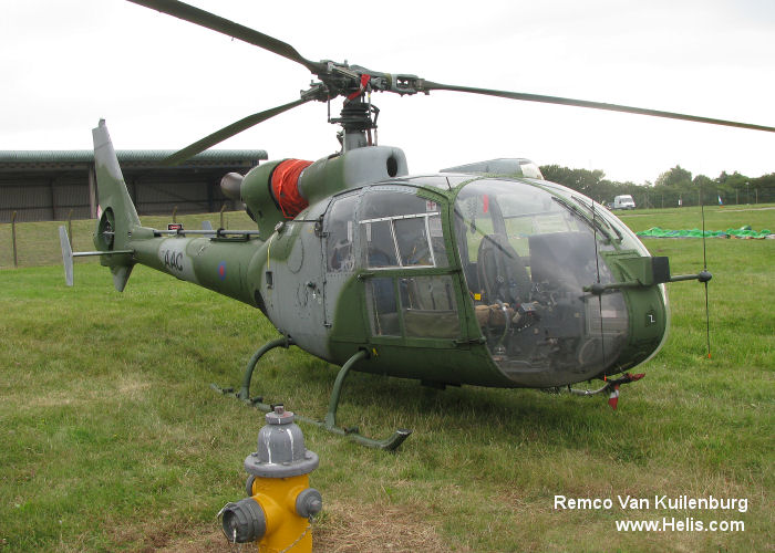 Helicopter Aerospatiale SA341B Gazelle AH.1 Serial 1645 Register XZ327 used by Army Air Corps AAC (British Army). Built 1977. Aircraft history and location