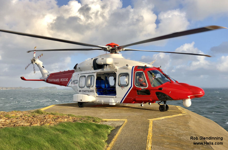 Helicopter AgustaWestland AW189 Serial 92010 Register G-MCGX used by HM Coastguard (Her Majesty's Coastguard) Bristow AgustaWestland UK. Built 2018. Aircraft history and location
