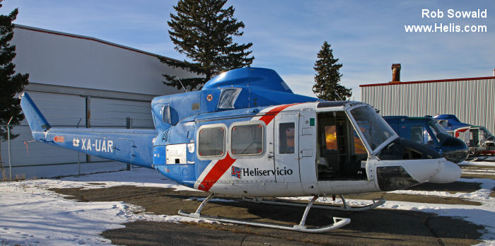 Helicopter Bell 412HP Serial 36051 Register XA-UAR D-HHYY used by Heliservicio ,Gobierno de Mexico CFE (Federal Electricity Commission) ,HDM Flugservice. Aircraft history and location