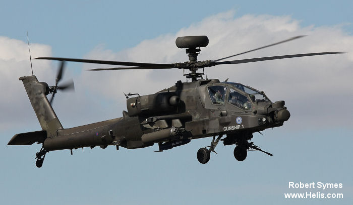 Helicopter Westland WAH-64 Apache Serial wah19 Register ZJ184 used by Army Air Corps AAC (British Army). Built 2001. Aircraft history and location