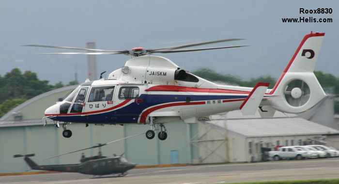 Helicopter Eurocopter AS365N3 Dauphin 2 Serial 6585 Register JA15KM used by Fire and Disaster Management Agency FDMA. Built 2001. Aircraft history and location