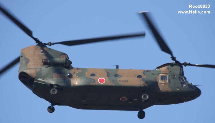 Helicopter Kawasaki Heavy Industries CH-47JA Serial 5051 Register 52952 used by Japan Ground Self-Defense Force JGSDF (Japanese Army). Aircraft history and location
