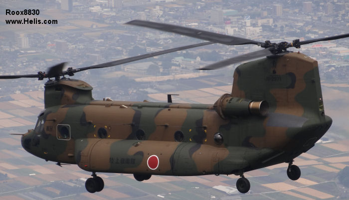 Helicopter Kawasaki Heavy Industries CH-47JA Serial 5081 Register 52971 used by Japan Ground Self-Defense Force JGSDF (Japanese Army). Aircraft history and location