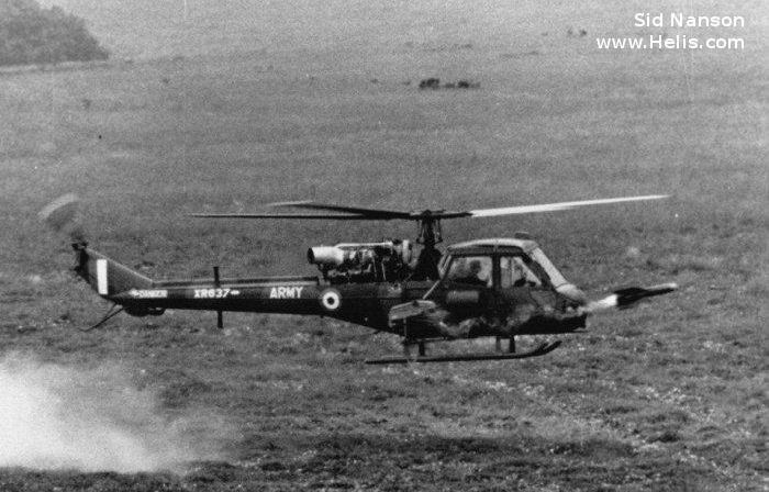 Helicopter Westland Scout AH.1 Serial f.9537 Register XR637 used by Army Air Corps AAC (British Army). Aircraft history and location