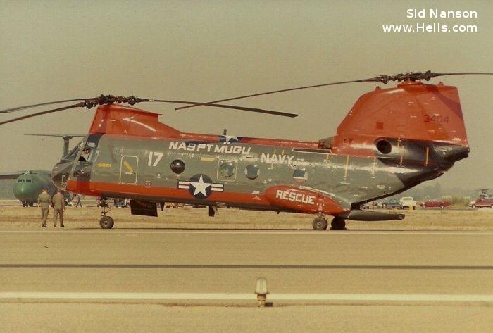 Helicopter Boeing-Vertol UH-46D Serial 2223 Register 153404 used by US Navy USN (United States Naval Aviation). Built 1966. Aircraft history and location