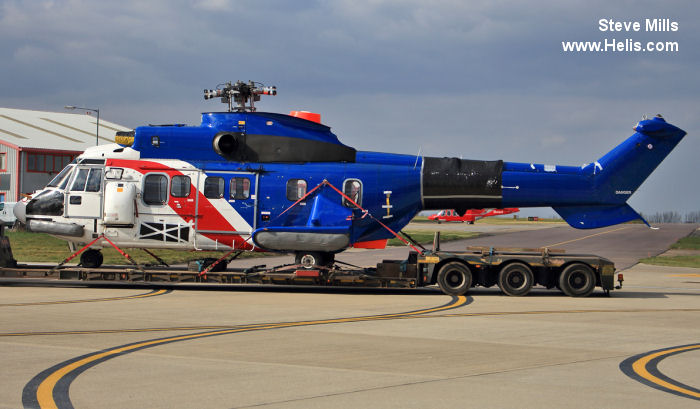 Helicopter Aerospatiale AS332L Super Puma Serial 2164 Register G-BMCX used by Airbus Helicopters UK ,Bristow. Built 1985. Aircraft history and location